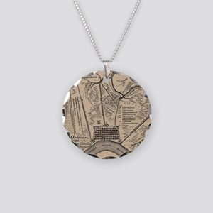 Vintage Map of New Orleans L Necklace Circle Charm