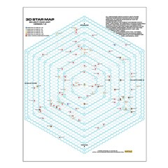 20 Light Year Hexagon Star Map - Posters