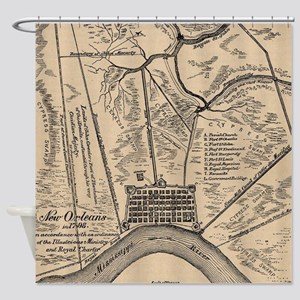 Vintage Map Of New Orleans Louisian Shower Curtain
