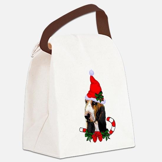 Basset Hound Christmas Canvas Lunch Bag