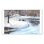 Snowy Road by Elsie Batzell Rectangle Sticker