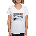 Snowy Road by Elsie Batzell Women's V-Neck T-Shirt