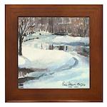 Snowy Road by Elsie Batzell Framed Tile