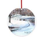 Snowy Road by Elsie Batzell Ornament (Round)