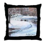 Snowy Road by Elsie Batzell Throw Pillow