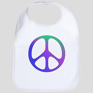 Rainbow Colored Peace Sign Cotton Baby Bib