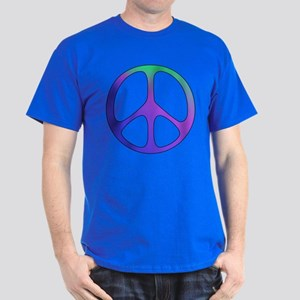 Rainbow Colored Peace Sign Dark T-Shirt