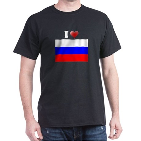 I love Russia Flag Dark T-Shirt