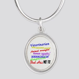 Bad Ass Veterinarian Silver Oval Necklace