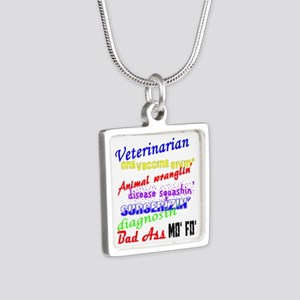 Bad Ass Veterinarian Silver Square Necklace