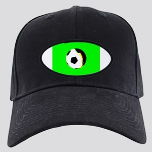 Green Soccer Football Kick It Black Cap with Patch