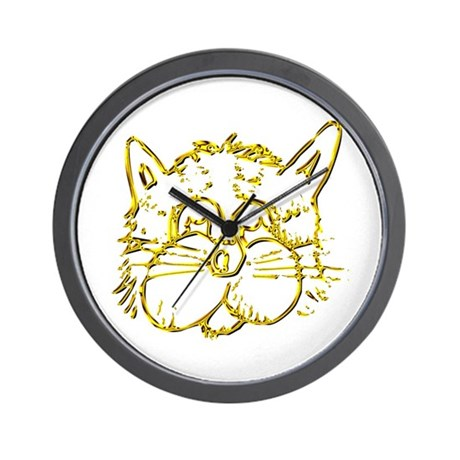Gold Cat Face Wall Clock