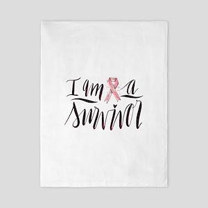 I Am A Survivor Pink Ribbon Desig Twin Duvet Cover