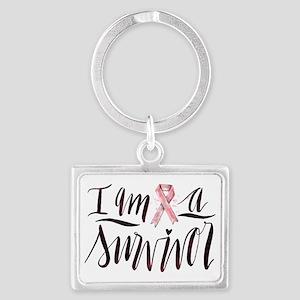 I Am A Survivor Pink Ribbon Design Keychains