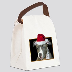 Christmas pitbull puppy Canvas Lunch Bag