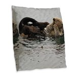 California Sea Otter Burlap Throw Pillow