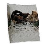 California Sea Otter Burlap Throw Pillow