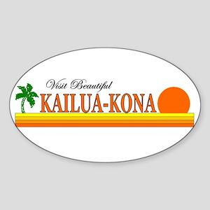 Visit Beautiful Kailua-Kona, Oval Sticker