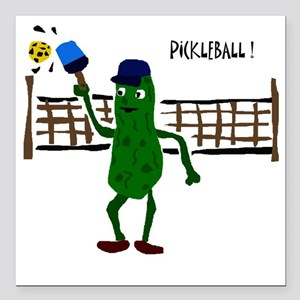 """Pickle Playing Picklebal Square Car Magnet 3"""" x 3"""""""