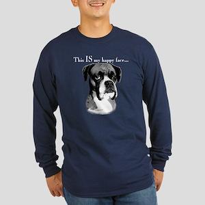 Boxer Happy Face Long Sleeve Dark T-Shirt