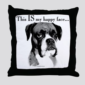 Boxer Happy Face Throw Pillow