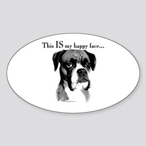 Boxer Happy Face Oval Sticker