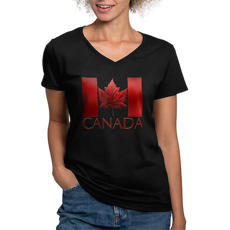 Canadian Flag Souvenir Women's V-Neck Dark T-Shirt