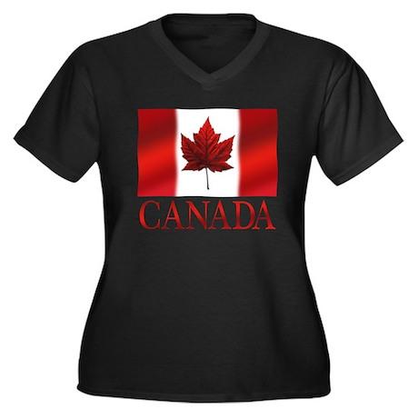 Canadian Flag Women's Plus Size Shirt V Neck Tee