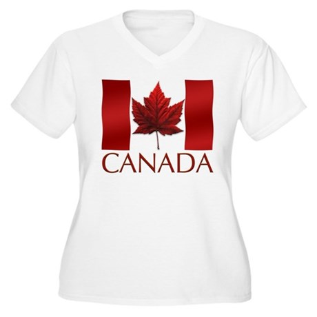 Canadian Flag Women's Plus Size V-Neck T-Shirt Art