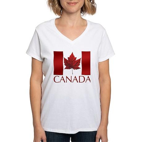 Canadian Flag Souvenir Women's V-Neck T-Shirt