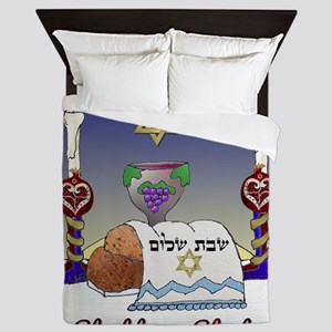 Judaica Shabbat Shalom Queen Duvet