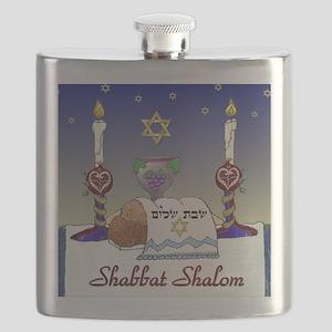 Judaica Shabbat Shalom Flask
