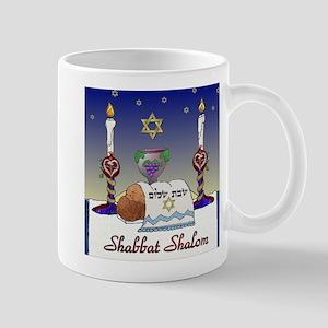 Judaica Shabbat Shalom Mugs