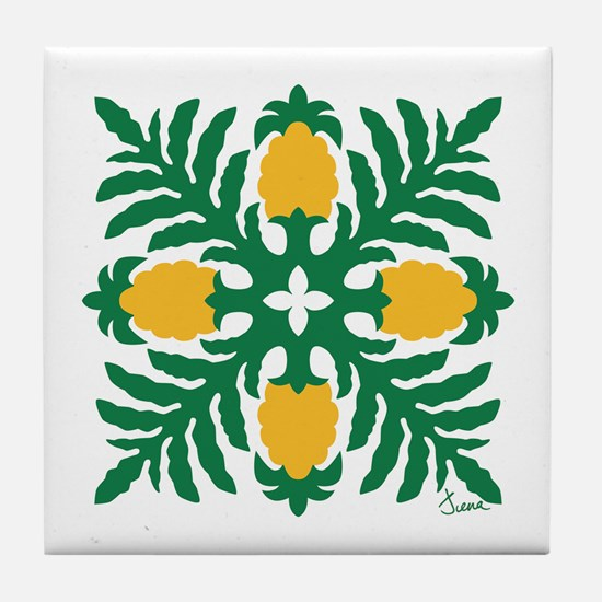 Hawaiian Quilt Pineapple Tile Coaster