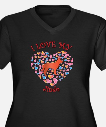 Love Jindo Women's Plus Size V-Neck Dark T-Shirt