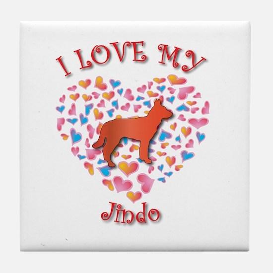 Love Jindo Tile Coaster