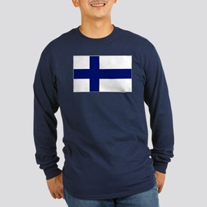 Finland Flag Long Sleeve Dark T-Shirt