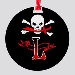 Jolly Roger L Initial Monogram Ornament