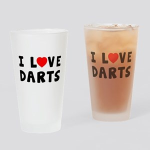 I Love Darts Drinking Glass