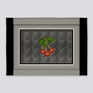 Chalkboard Black Gingham Checks 5'x7'Area Rug