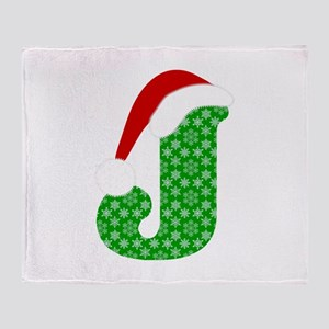 Christmas Monogram Letter J Throw Blanket