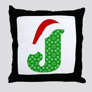 Christmas Monogram Letter J Throw Pillow