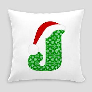 Christmas Monogram Letter J Everyday Pillow