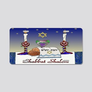 Judaica Shabbat Shalom Aluminum License Plate