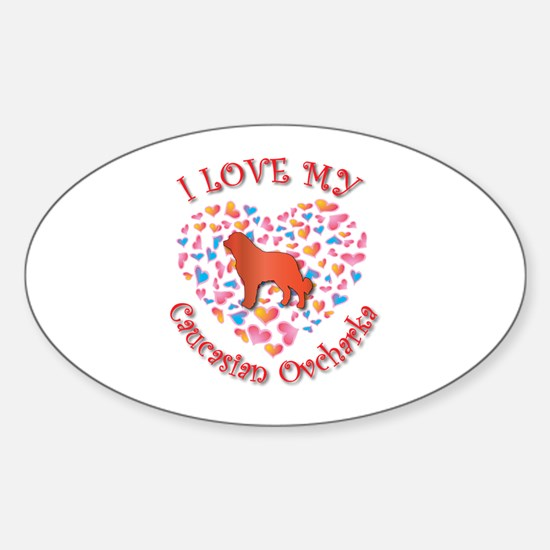 Love Caucasian Oval Decal