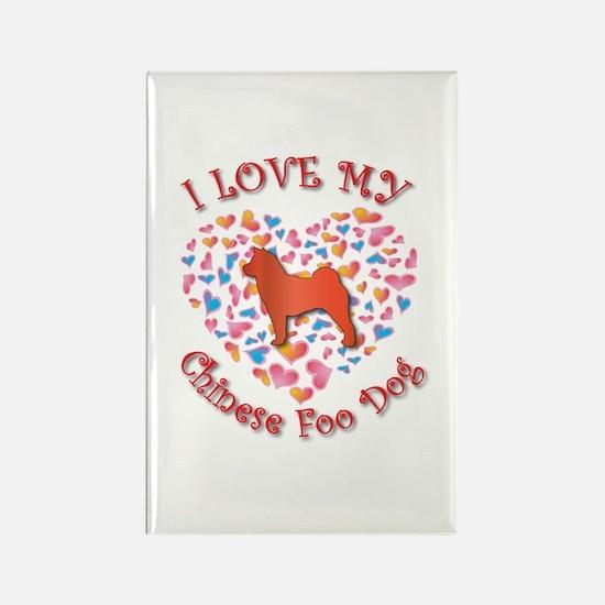 Love Foo Dog Rectangle Magnet