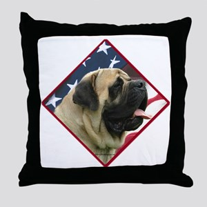 Mastiff Flag2 Throw Pillow