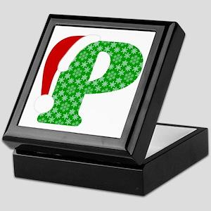 Christmas Monogram Letter P Keepsake Box