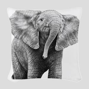 Baby African Elephant Queen Du Woven Throw Pillow