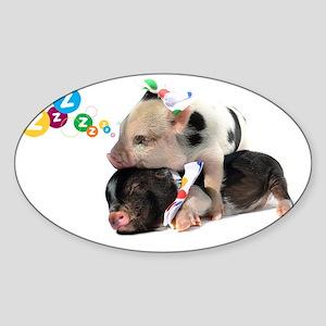 micro pigs sleeping Sticker (Oval)